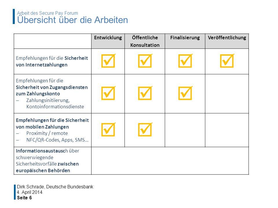4. April 2014 Seite 6 Dirk Schrade, Deutsche Bundesbank Arbeit des Secure Pay Forum Übersicht über die Arbeiten Entwicklung Öffentliche Konsultation F