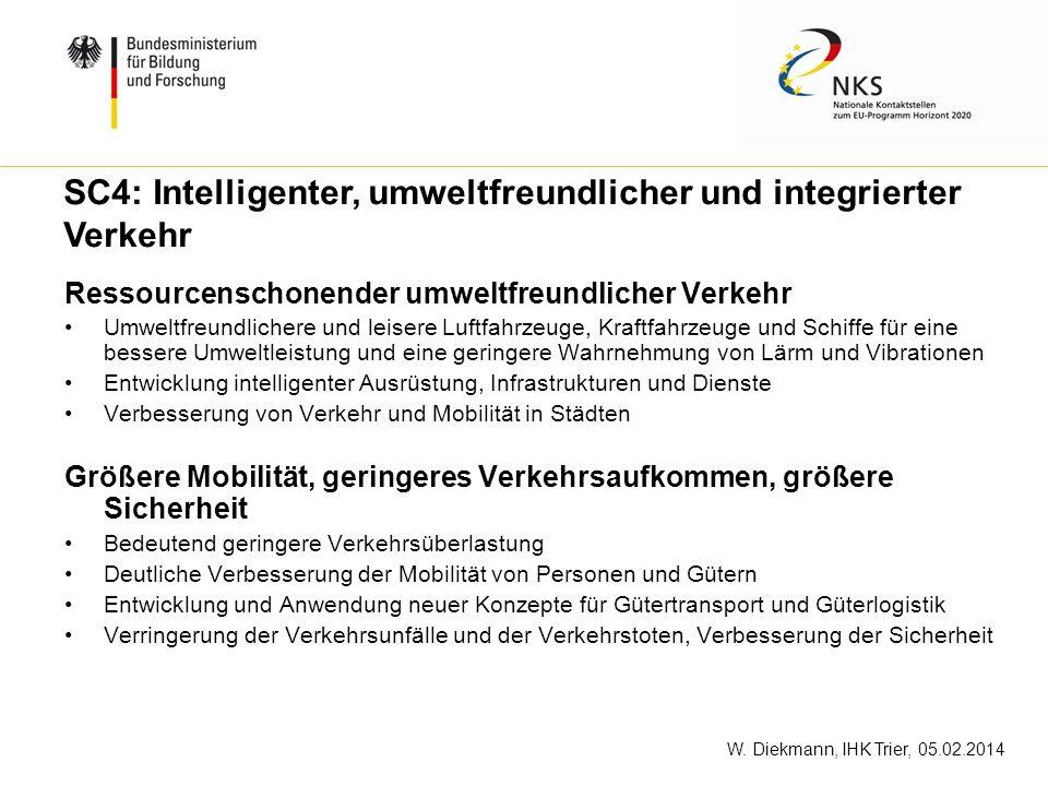 W. Diekmann, IHK Trier, 05.02.2014 Ressourcenschonender umweltfreundlicher Verkehr Umweltfreundlichere und leisere Luftfahrzeuge, Kraftfahrzeuge und S