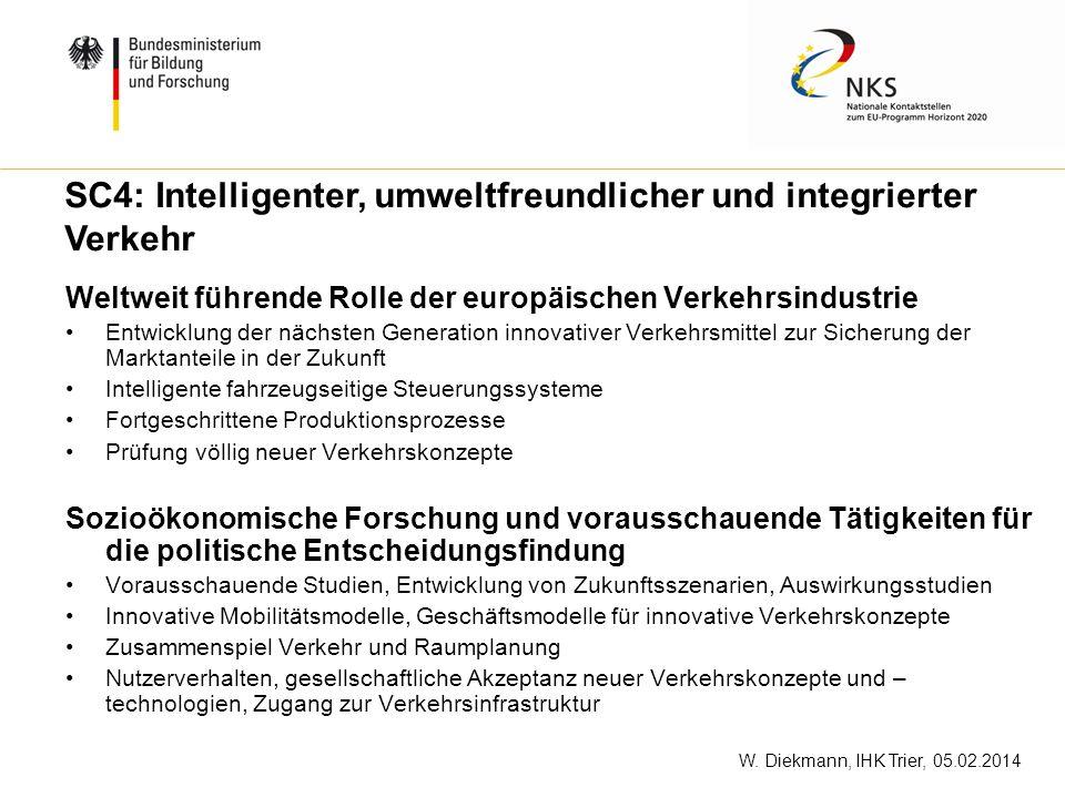 W. Diekmann, IHK Trier, 05.02.2014 Weltweit führende Rolle der europäischen Verkehrsindustrie Entwicklung der nächsten Generation innovativer Verkehrs