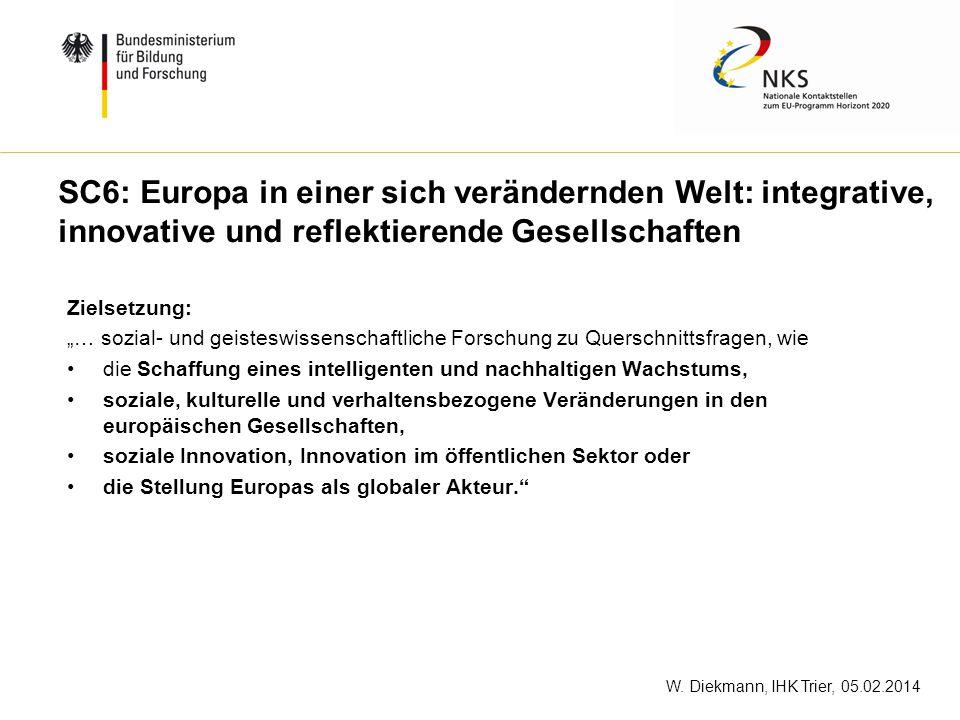 W. Diekmann, IHK Trier, 05.02.2014 SC6: Europa in einer sich verändernden Welt: integrative, innovative und reflektierende Gesellschaften Zielsetzung: