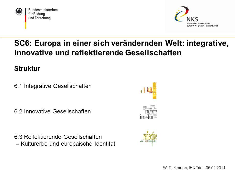 W. Diekmann, IHK Trier, 05.02.2014 SC6: Europa in einer sich verändernden Welt: integrative, innovative und reflektierende Gesellschaften 6.1 Integrat