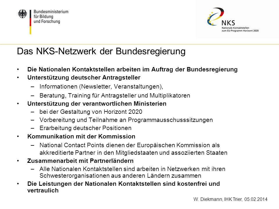 W. Diekmann, IHK Trier, 05.02.2014 Die Nationalen Kontaktstellen arbeiten im Auftrag der Bundesregierung Unterstützung deutscher Antragsteller –Inform
