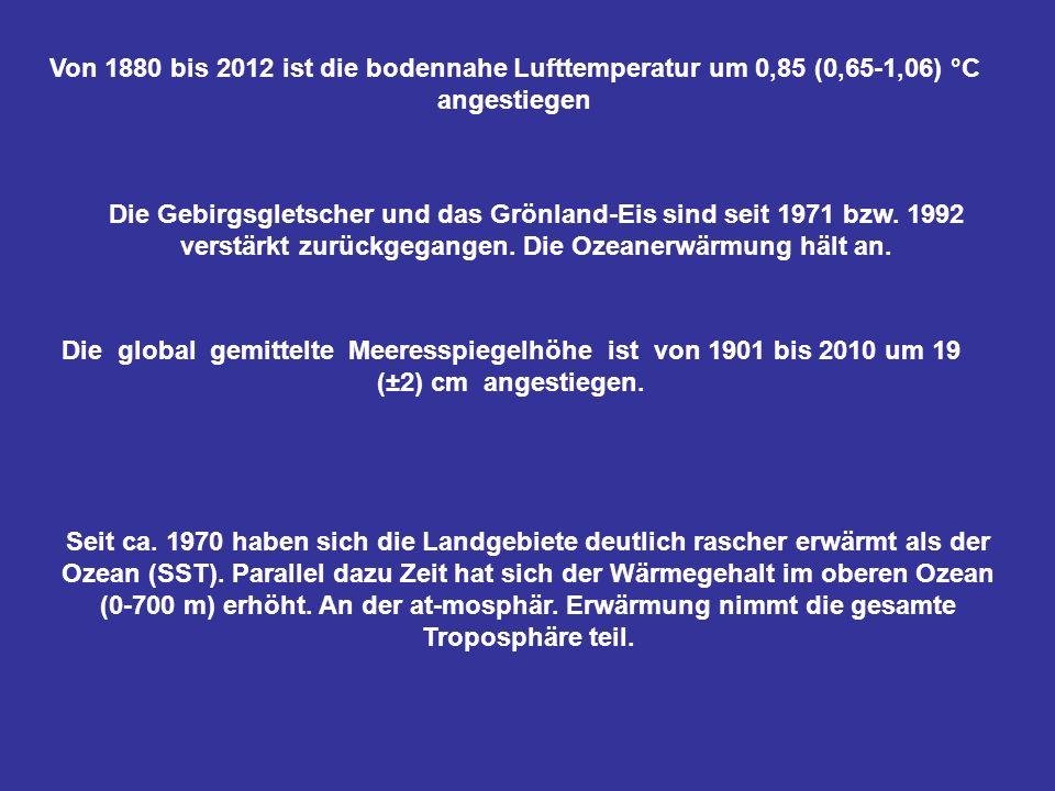 Von 1880 bis 2012 ist die bodennahe Lufttemperatur um 0,85 (0,65-1,06) °C angestiegen Die Gebirgsgletscher und das Grönland-Eis sind seit 1971 bzw. 19
