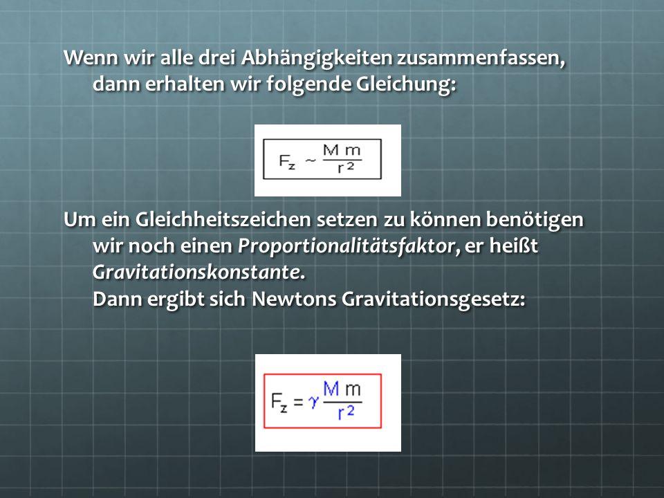 Wenn wir alle drei Abhängigkeiten zusammenfassen, dann erhalten wir folgende Gleichung: Um ein Gleichheitszeichen setzen zu können benötigen wir noch