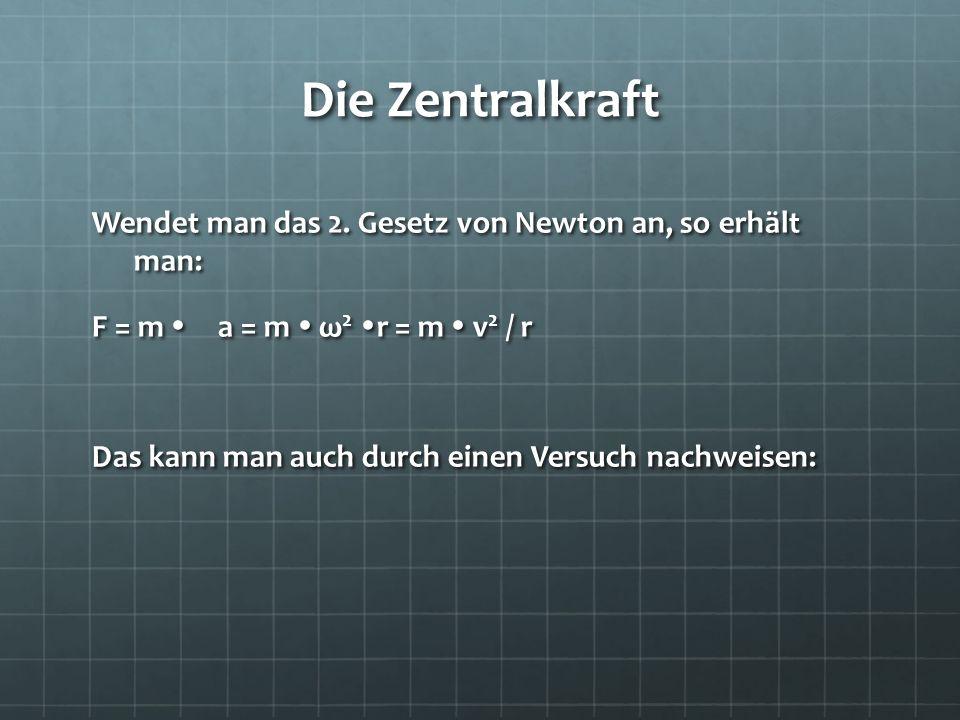 Die Zentralkraft Wendet man das 2. Gesetz von Newton an, so erhält man: F = m a = m ω 2 r = m v 2 / r Das kann man auch durch einen Versuch nachweisen
