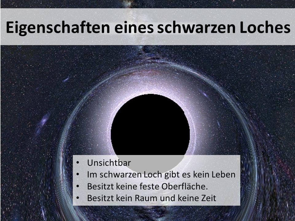 Unsichtbar Im schwarzen Loch gibt es kein Leben Besitzt keine feste Oberfläche.