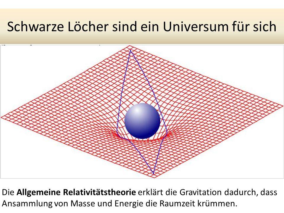 Schwarze Löcher sind ein Universum für sich Die Allgemeine Relativitätstheorie erklärt die Gravitation dadurch, dass Ansammlung von Masse und Energie die Raumzeit krümmen.