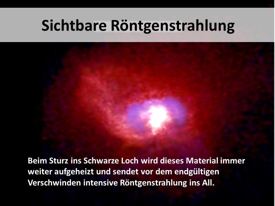 Beim Sturz ins Schwarze Loch wird dieses Material immer weiter aufgeheizt und sendet vor dem endgültigen Verschwinden intensive Röntgenstrahlung ins All.