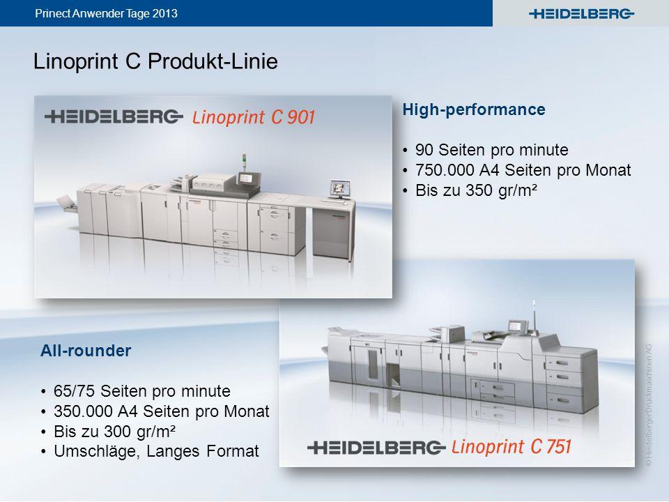 Prinect Anwender Tage 2013 © Heidelberger Druckmaschinen AG Linoprint C Produkt-Linie High-performance 90 Seiten pro minute 750.000 A4 Seiten pro Mona