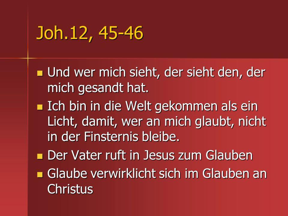 Joh.12, 45-46 Und wer mich sieht, der sieht den, der mich gesandt hat. Und wer mich sieht, der sieht den, der mich gesandt hat. Ich bin in die Welt ge