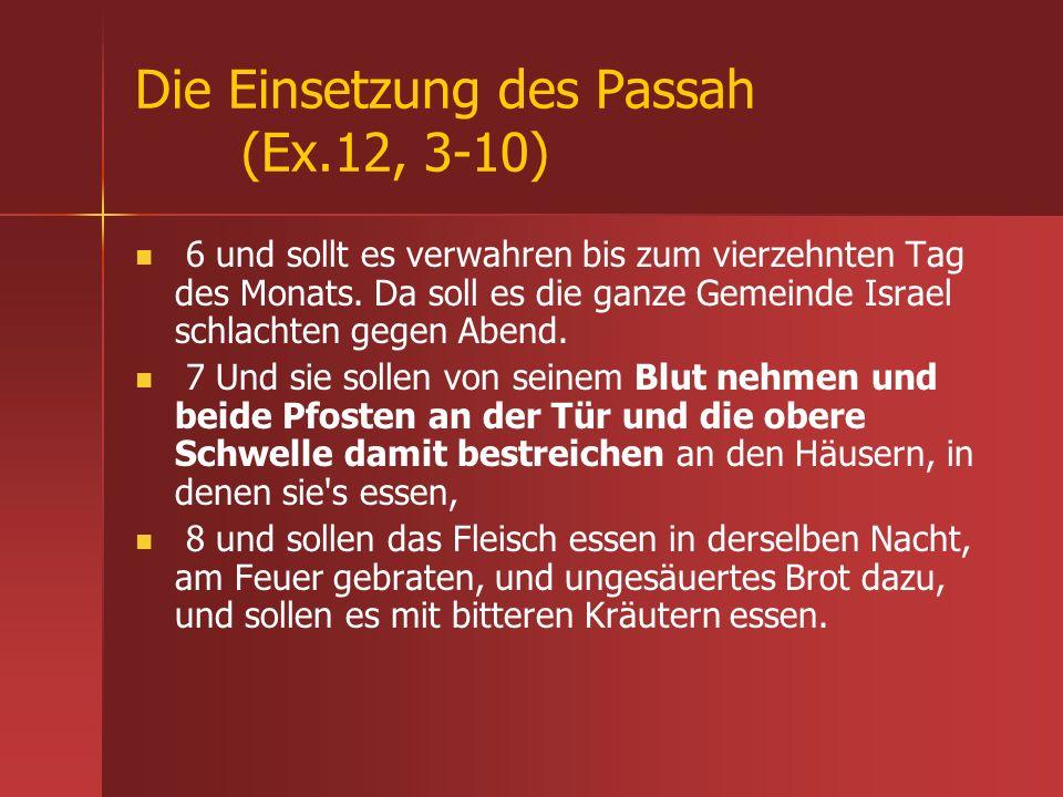 Die Einsetzung des Passah (Ex.12, 3-10) 6 und sollt es verwahren bis zum vierzehnten Tag des Monats. Da soll es die ganze Gemeinde Israel schlachten g