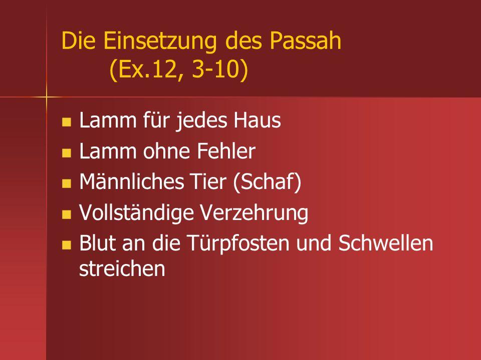 Die Einsetzung des Passah (Ex.12, 3-10) Lamm für jedes Haus Lamm ohne Fehler Männliches Tier (Schaf) Vollständige Verzehrung Blut an die Türpfosten un