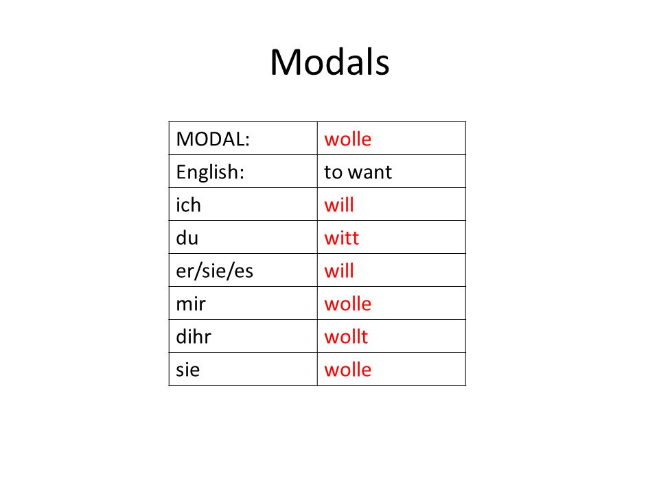Modals Most PD speakers prefer to use GLEICHE instead of MEEGE.