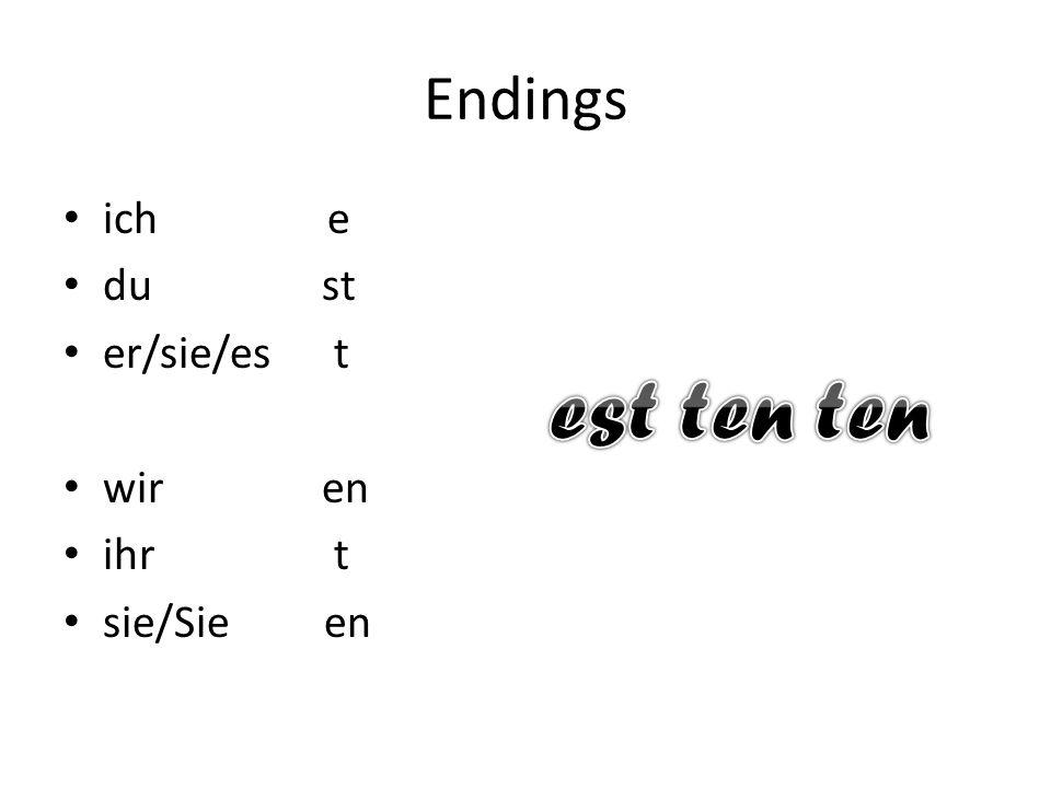 Verbs German verbs have a verb stem and an en.