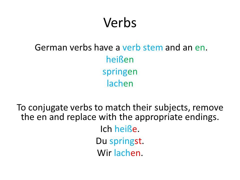 lernen- to learn Ich lerne Deutsch.Du lernst Deutsch.