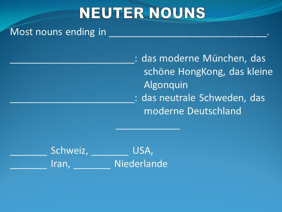 Most nouns ending in _____________________________. _______________________: das moderne München, das schöne HongKong, das kleine Algonquin __________