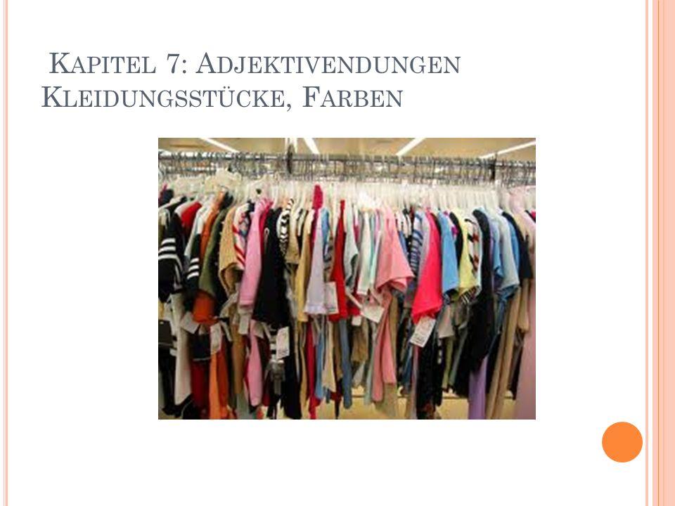 K APITEL 7: A DJEKTIVENDUNGEN K LEIDUNGSSTÜCKE, F ARBEN