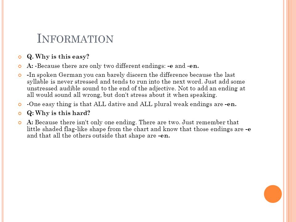 H ANDZETTEL Adjektivendungen: Sehen Sie die Endungen auf S. 397 in ihrem Textbuch!