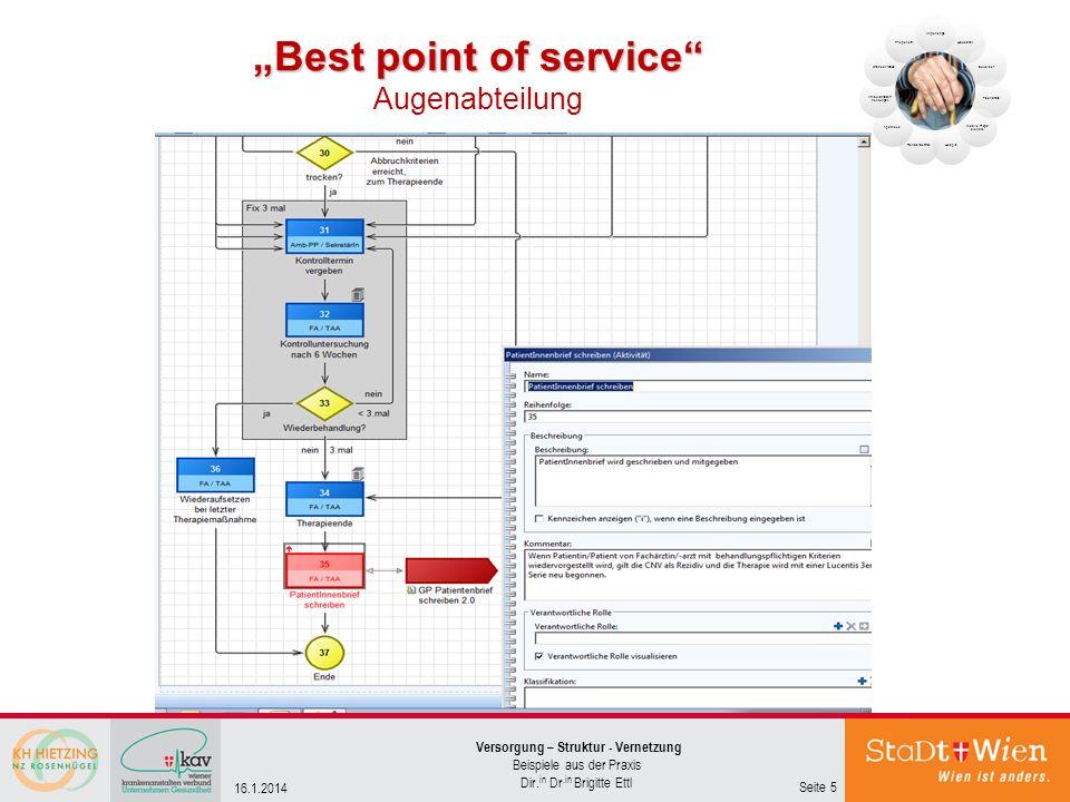 Best point of service Best point of service Augenabteilung Seite 5 Versorgung – Struktur - Vernetzung Beispiele aus der Praxis Dir. in Dr.in Brigitte