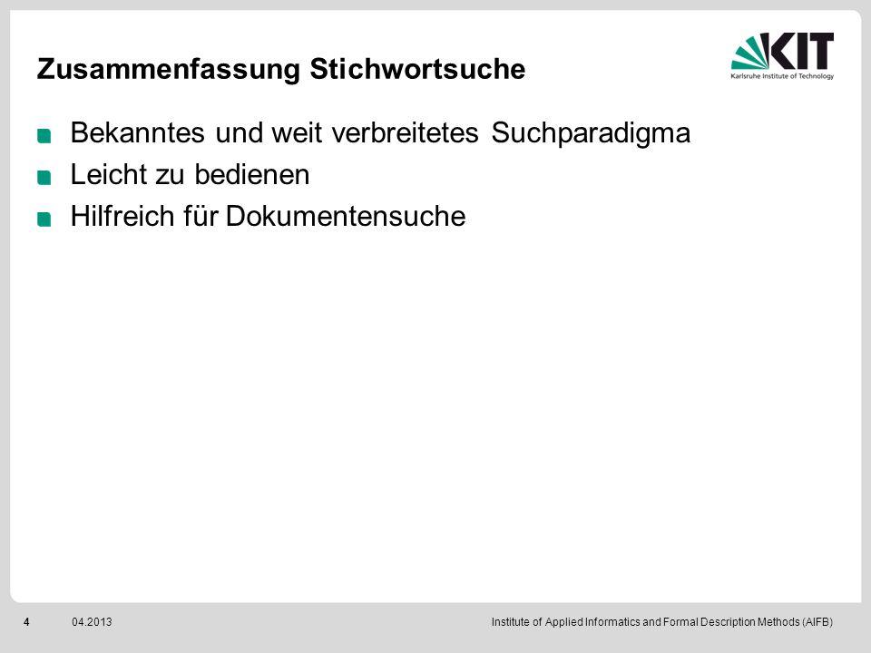 Institute of Applied Informatics and Formal Description Methods (AIFB)504.2013 Semantische Interpretation Interpretationen der Suchanfrage bucket