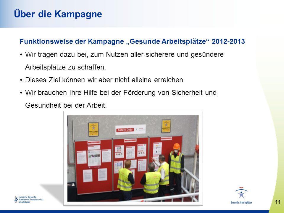 11 www.healthy-workplaces.eu Über die Kampagne Funktionsweise der Kampagne Gesunde Arbeitsplätze 2012-2013 Wir tragen dazu bei, zum Nutzen aller siche