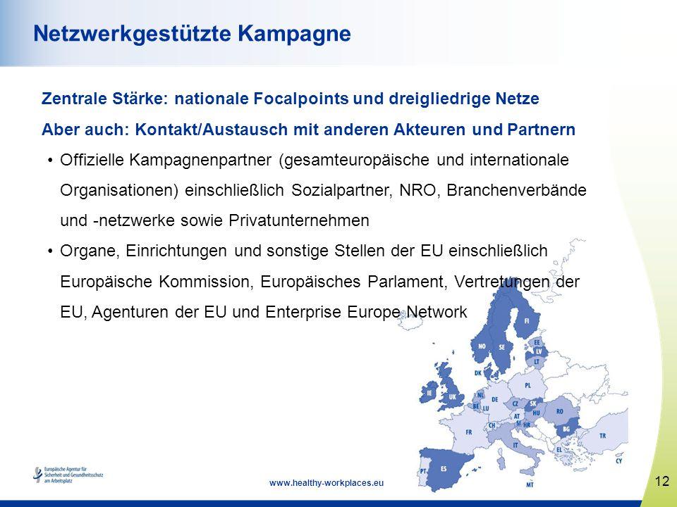 12 www.healthy-workplaces.eu Netzwerkgestützte Kampagne Zentrale Stärke: nationale Focalpoints und dreigliedrige Netze Aber auch: Kontakt/Austausch mi