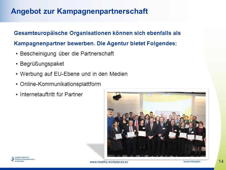 14 www.healthy-workplaces.eu Angebot zur Kampagnenpartnerschaft Gesamteuropäische Organisationen können sich ebenfalls als Kampagnenpartner bewerben.