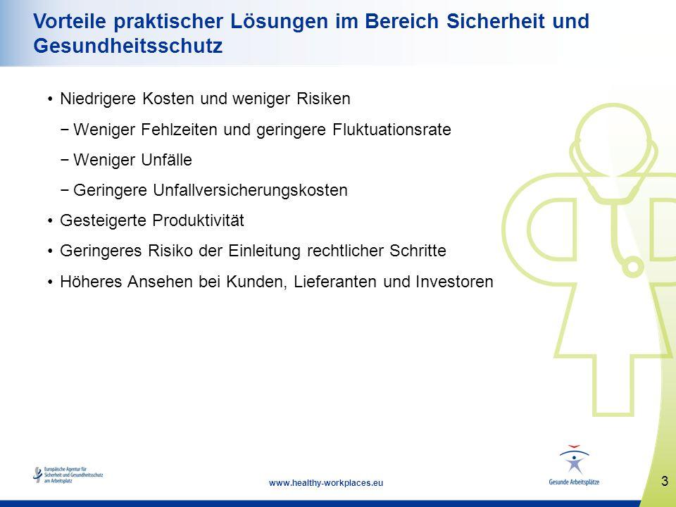 3 www.healthy-workplaces.eu Vorteile praktischer Lösungen im Bereich Sicherheit und Gesundheitsschutz Niedrigere Kosten und weniger Risiken Weniger Fe