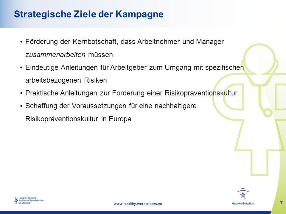 7 www.healthy-workplaces.eu Strategische Ziele der Kampagne Förderung der Kernbotschaft, dass Arbeitnehmer und Manager zusammenarbeiten müssen Eindeut