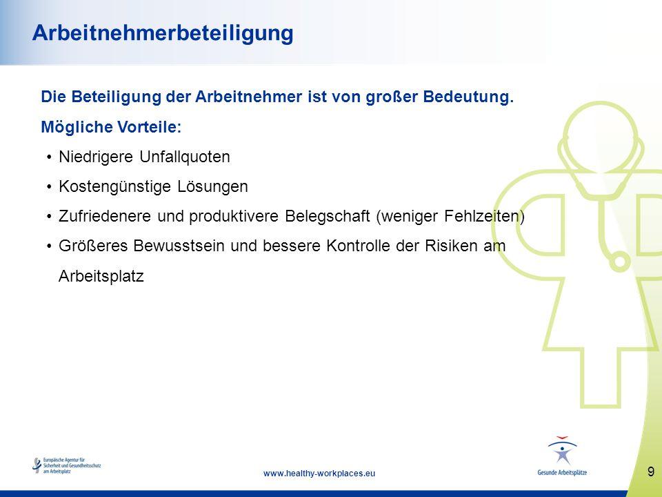 10 www.healthy-workplaces.eu Anhörung zu Sicherheit und Gesundheitsschutz Die Arbeitgeber sind verpflichtet, die Arbeitnehmer bzw.