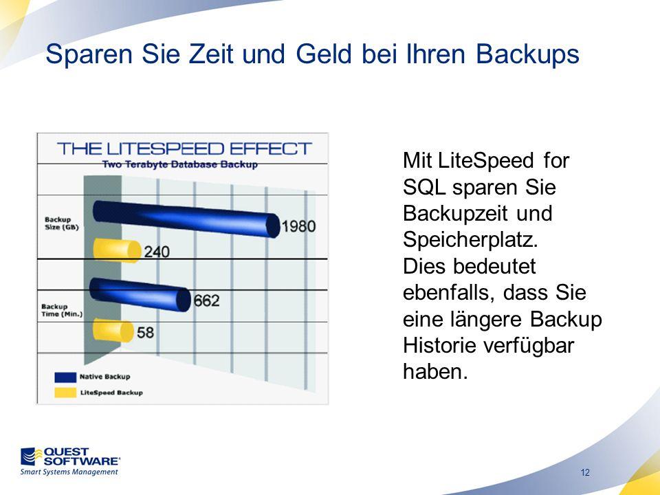 12 Sparen Sie Zeit und Geld bei Ihren Backups Mit LiteSpeed for SQL sparen Sie Backupzeit und Speicherplatz.