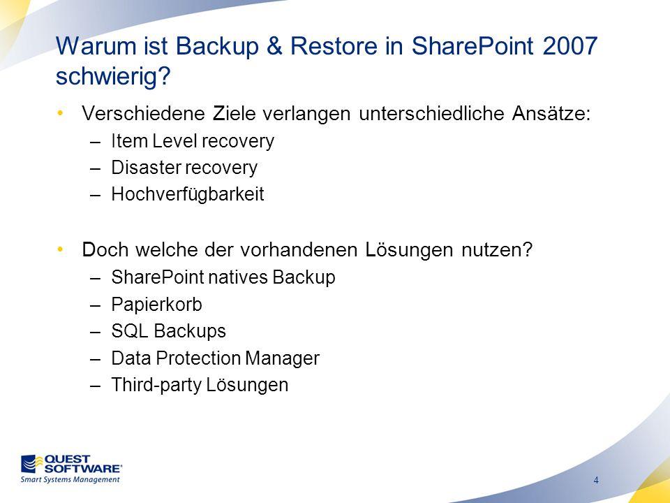 4 Warum ist Backup & Restore in SharePoint 2007 schwierig.