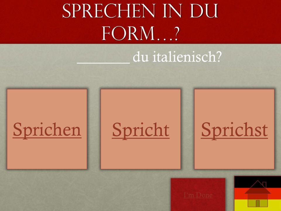 Sprechen in Du form…? Sprichen Spricht Sprichst _______ du italienisch? Im Done