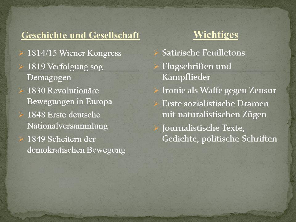 Geschichte und Gesellschaft 1814/15 Wiener Kongress 1819 Verfolgung sog. Demagogen 1830 Revolutionäre Bewegungen in Europa 1848 Erste deutsche Nationa