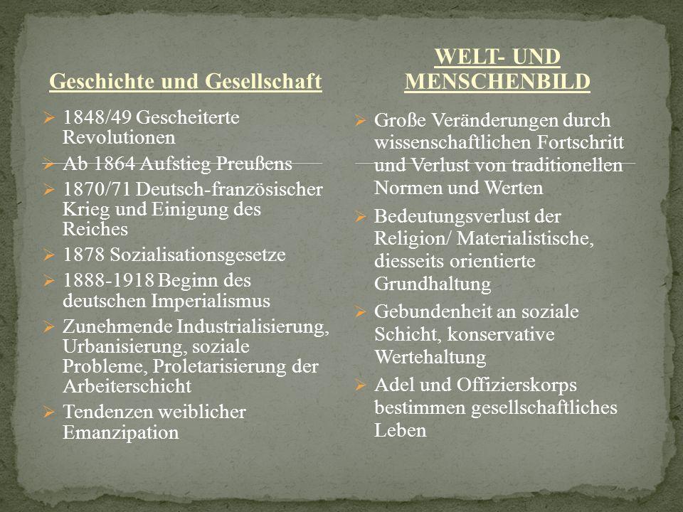 Geschichte und Gesellschaft 1848/49 Gescheiterte Revolutionen Ab 1864 Aufstieg Preußens 1870/71 Deutsch-französischer Krieg und Einigung des Reiches 1