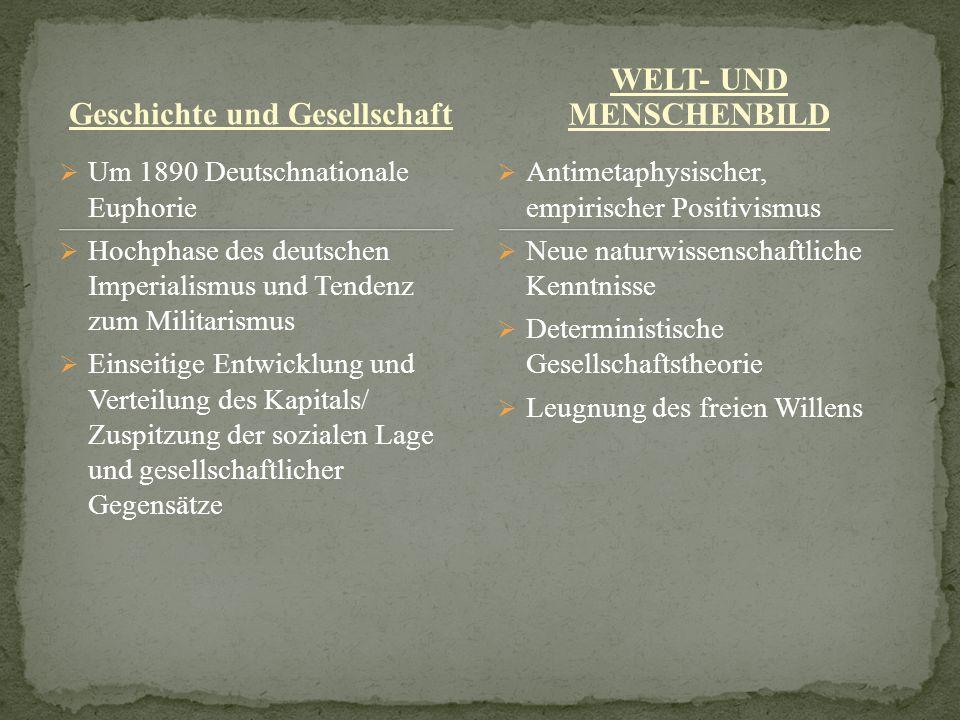 Geschichte und Gesellschaft Um 1890 Deutschnationale Euphorie Hochphase des deutschen Imperialismus und Tendenz zum Militarismus Einseitige Entwicklun