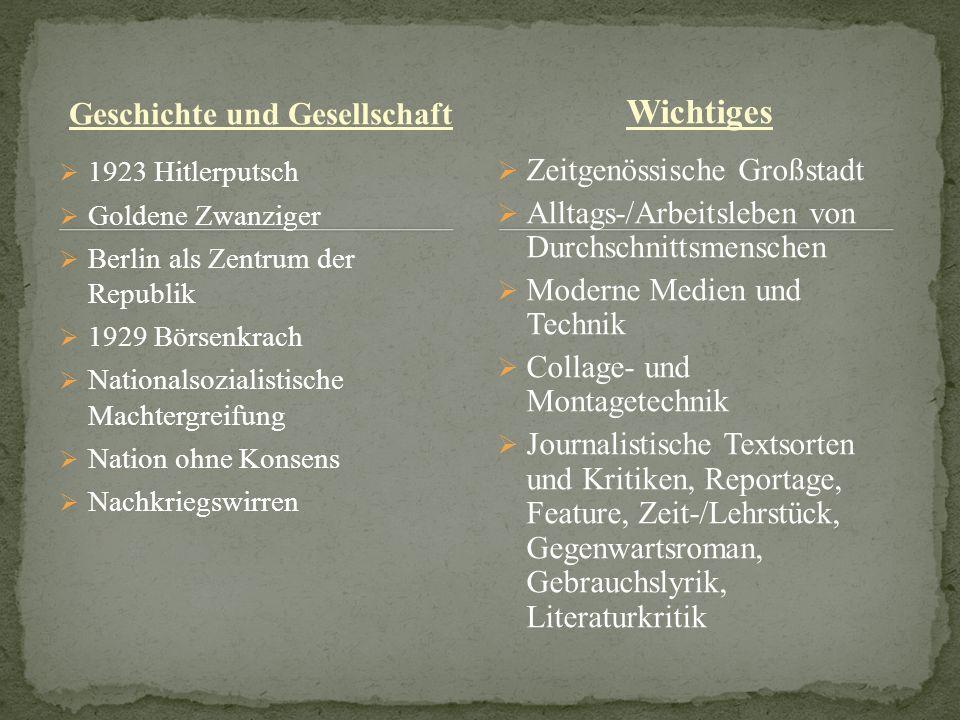Geschichte und Gesellschaft 1923 Hitlerputsch Goldene Zwanziger Berlin als Zentrum der Republik 1929 Börsenkrach Nationalsozialistische Machtergreifun