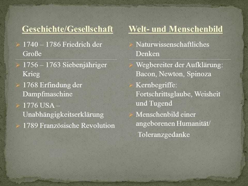 Geschichte/Gesellschaft 1740 – 1786 Friedrich der Große 1756 – 1763 Siebenjähriger Krieg 1768 Erfindung der Dampfmaschine 1776 USA – Unabhängigkeitser