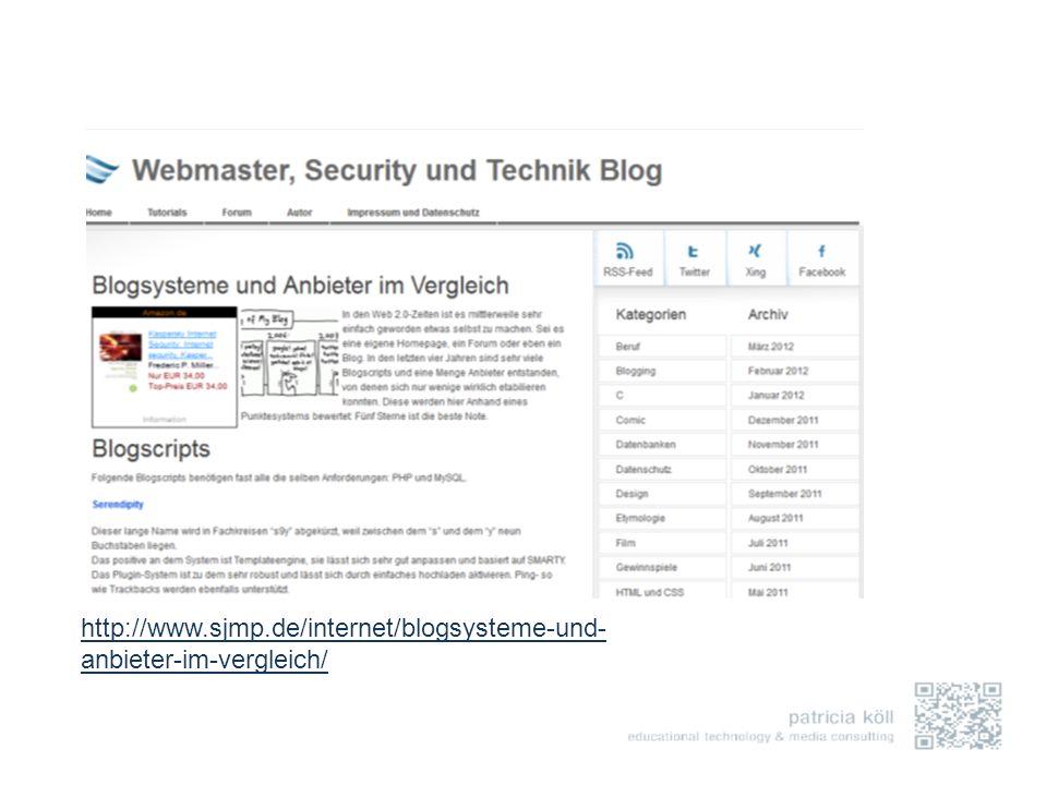 http://www.sjmp.de/internet/blogsysteme-und- anbieter-im-vergleich/