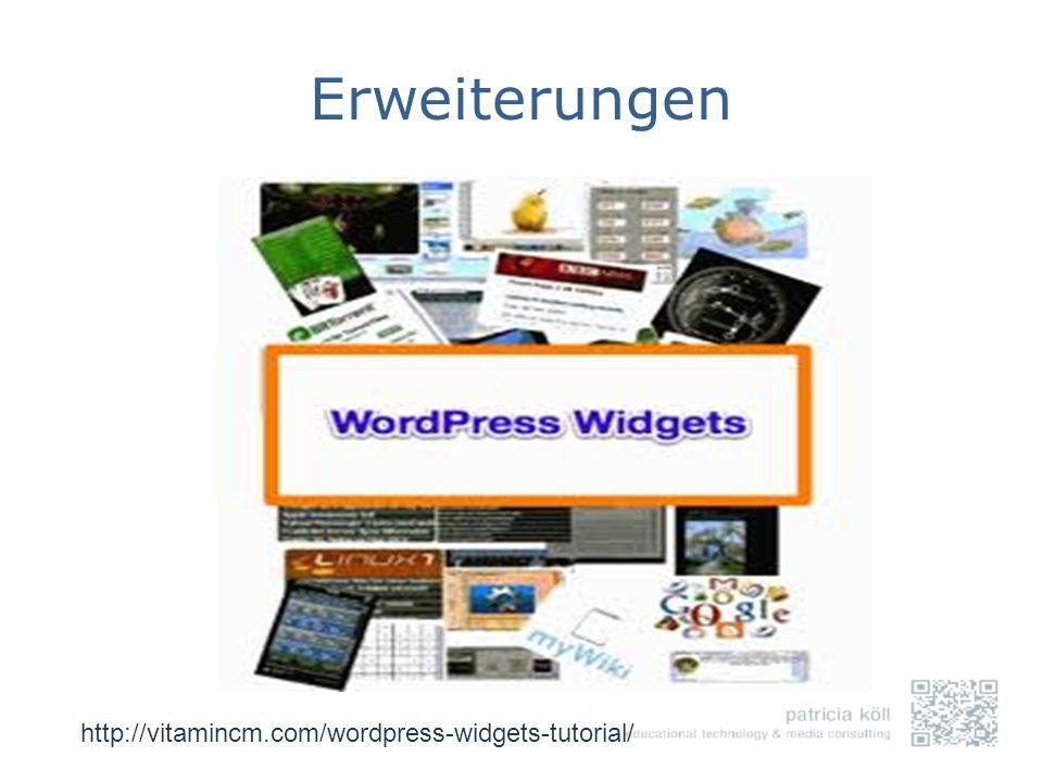Erweiterungen http://vitamincm.com/wordpress-widgets-tutorial/