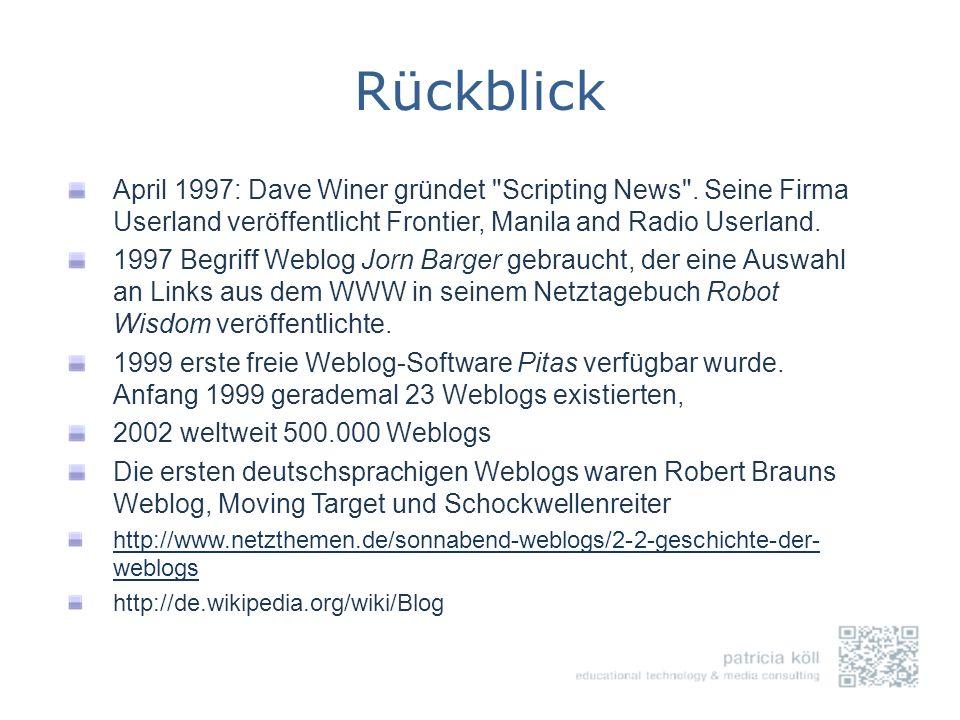 Rückblick April 1997: Dave Winer gründet