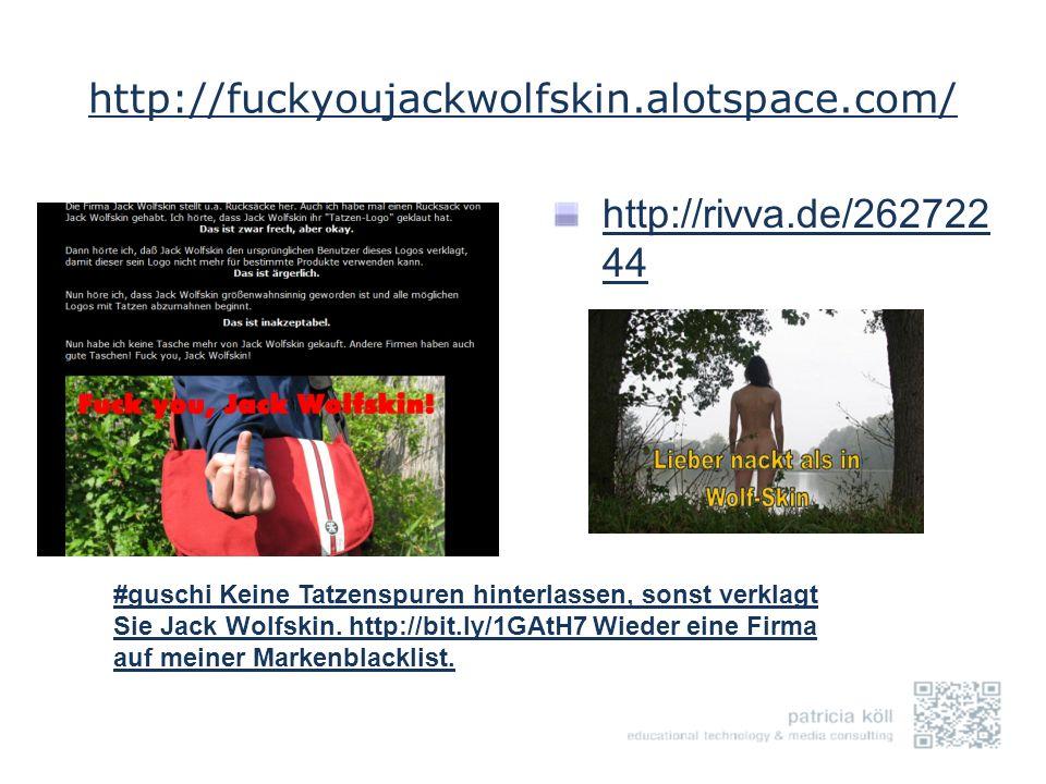 http://fuckyoujackwolfskin.alotspace.com/ http://rivva.de/262722 44 #guschi Keine Tatzenspuren hinterlassen, sonst verklagt Sie Jack Wolfskin. http://
