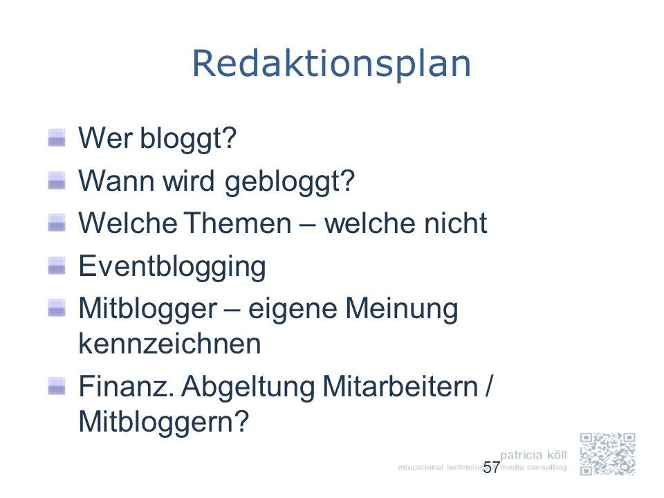 Redaktionsplan Wer bloggt? Wann wird gebloggt? Welche Themen – welche nicht Eventblogging Mitblogger – eigene Meinung kennzeichnen Finanz. Abgeltung M