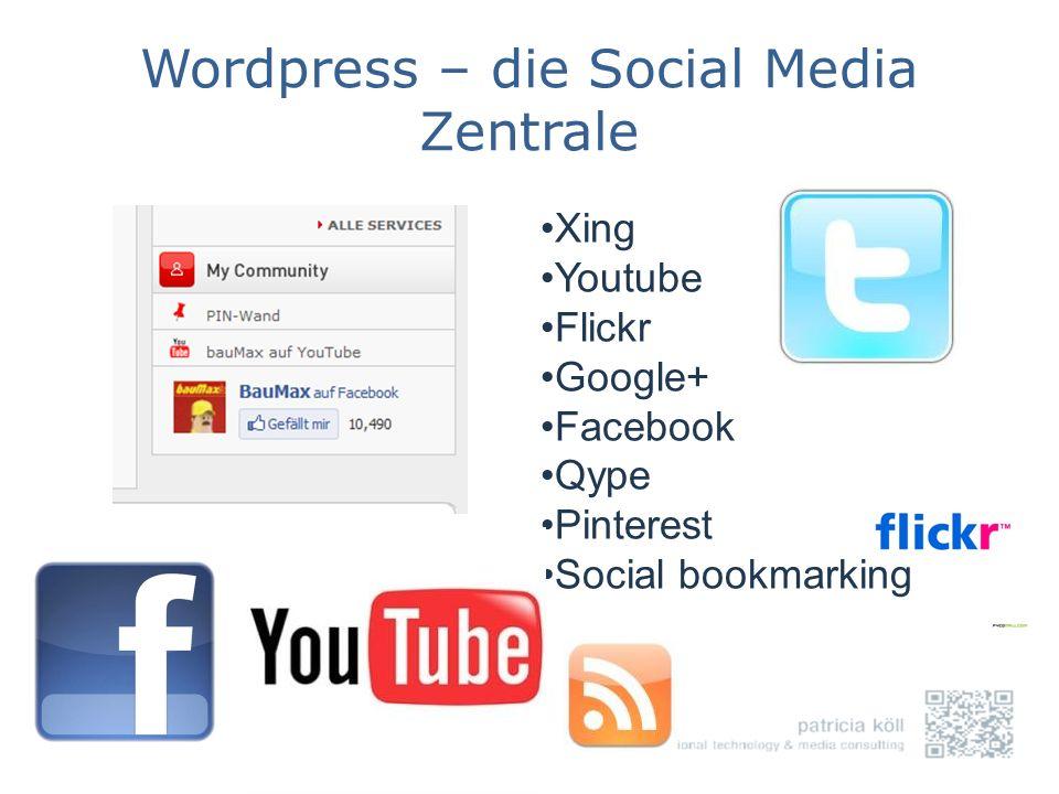 Wordpress – die Social Media Zentrale Xing Youtube Flickr Google+ Facebook Qype Pinterest Social bookmarking