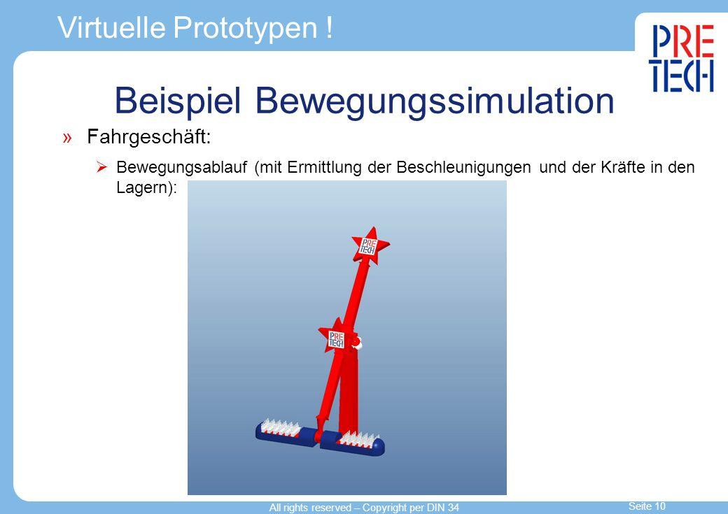 Virtuelle Prototypen ! Fahrgeschäft: Bewegungsablauf (mit Ermittlung der Beschleunigungen und der Kräfte in den Lagern): Beispiel Bewegungssimulation