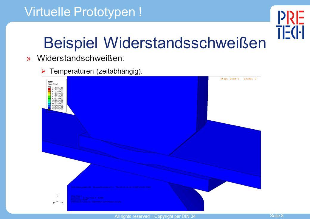 Virtuelle Prototypen ! Widerstandschweißen : Temperaturen (zeitabhängig): Beispiel Widerstandsschweißen All rights reserved – Copyright per DIN 34 Sei