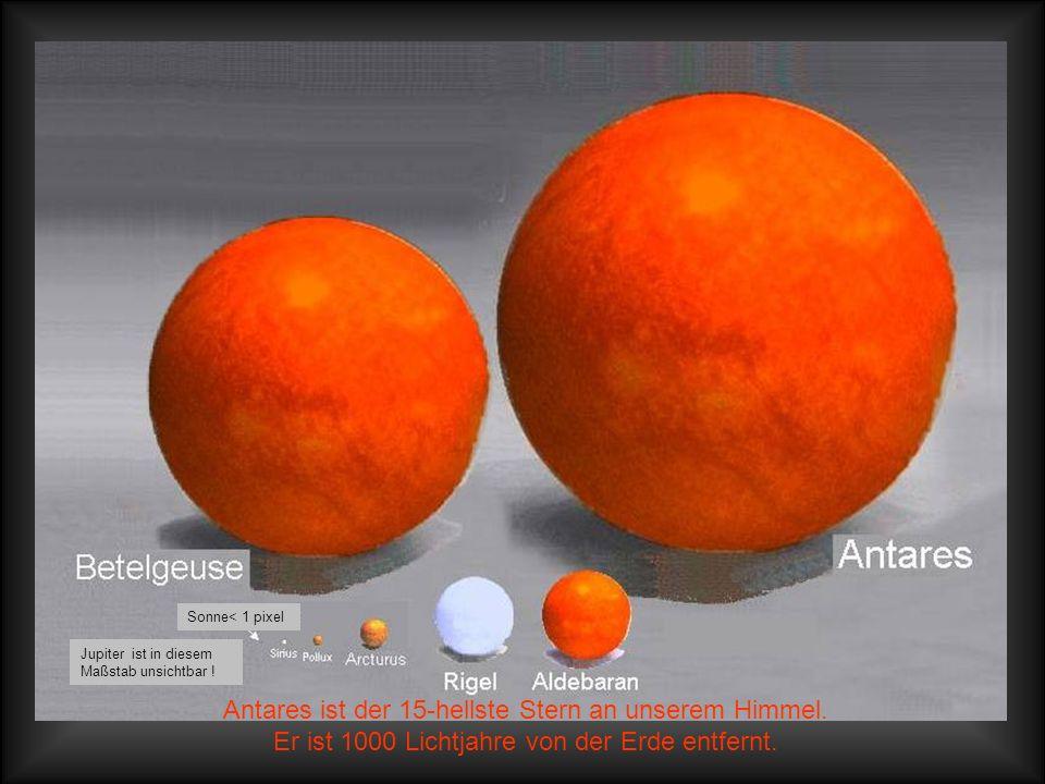 Mittlere Fixsterne In diesem Maßstab hat der Jupiter die Größe von 1 Pixel und die Erde ist nun überhaupt nicht mehr sichtbar!