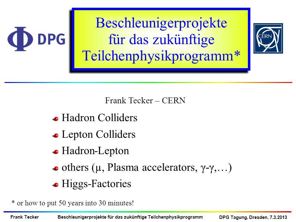 DPG Tagung, Dresden, 7.3.2013 Frank Tecker Beschleunigerprojekte für das zukünftige Teilchenphysikprogramm e+ e- Linear Colliders ILC 250 GeV 500 GeV CLIC 375 GeV Klystron based 500 GeV > 500 GeV Circular Colliders CERN LEP3 in LHC tunnel DLEP – New tunnel, 53 km TLEP – New tunnel, 80 km Super TRISTAN 250 GeV– 40, 60 km tunnel 400 GeV 500 GeV HIGGS FACTORIES e+e-