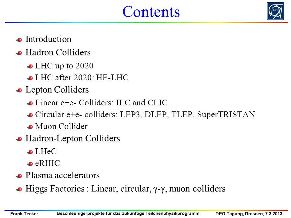 DPG Tagung, Dresden, 7.3.2013 Frank Tecker Beschleunigerprojekte für das zukünftige Teilchenphysikprogramm Linear e + e - Colliders: ILC + CLIC CLIC Room-temperature cavities 12 GHz, 100 MV/m 500 – 3000 GeV ~31 km total length ILC schematic ILC (Internat.