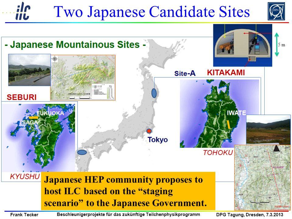 DPG Tagung, Dresden, 7.3.2013 Frank Tecker Beschleunigerprojekte für das zukünftige Teilchenphysikprogramm 5 m Japanese HEP community proposes to host